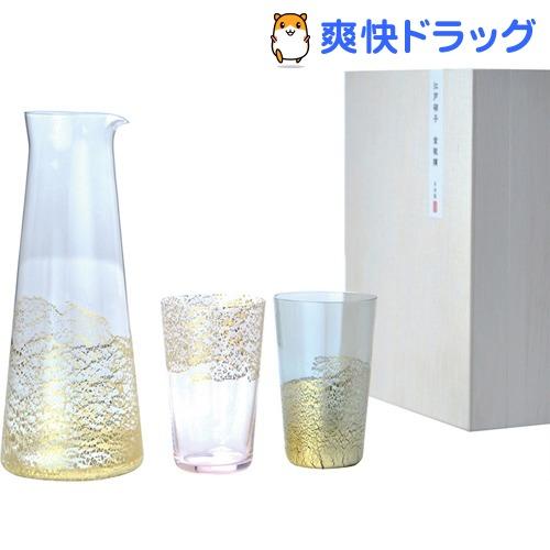 江戸硝子金玻璃 酒器セット 冷酒杯 徳利 桜 墨 G641-H104(3点セット)