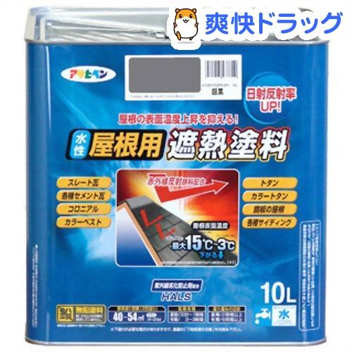 アサヒペン 水性屋根用遮熱塗料 銀黒(10L)【アサヒペン】