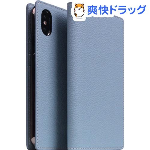 SLG iPhone XS/X フルグレインレザーケース パウダーブルー SD13662i58(1個)【SLG Design(エスエルジーデザイン)】