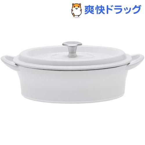 グッドプラス キャストポット 浅型両手鍋 オーバル ホワイト(26cm)【グッドプラス】【送料無料】