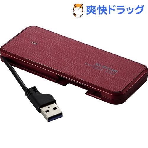 エレコム 外付けSSD ポータブル 120GB USB3.2 薄型 軽量 レッド ESD-EC0120GRDR(1個)
