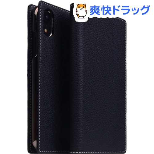 SLG iPhone XR フルグレインレザーケース ブラックブルー SD13677i61(1個)【SLG Design(エスエルジーデザイン)】