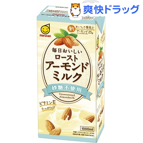 爆買いセール マルサン 毎日おいしいローストアーモンドミルク 砂糖不使用 6本入 1000ml 格安SALEスタート