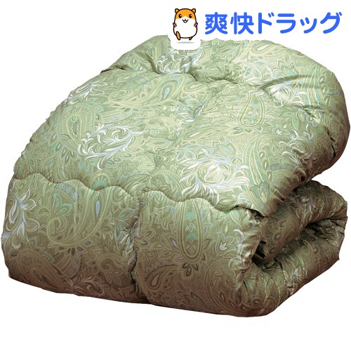 ウールキルト加工掛布団 グリーン セミダブル(1枚)