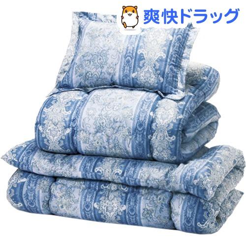 防ダニ抗菌防臭加工 ほこりの出にくいボリューム寝具セット ダブル12点 ブルー系(1セット)