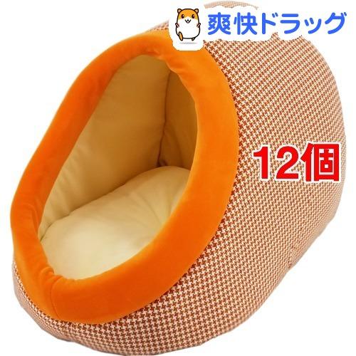 ペットプロ 千鳥格子ドームベッド ヴィンテージオレンジ(12個セット)【ペットプロ(PetPro)】