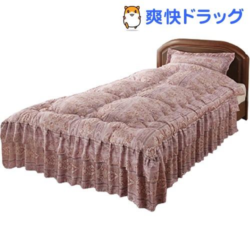シルク混ダブルフリルベッド布団 ダブル ピンク 同柄枕カバー付き(1セット)