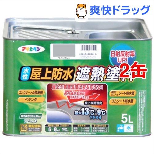 アサヒペン 水性屋上防水遮熱塗料 ライトグレー 5L ご注文で当日配送 セール価格 2缶セット