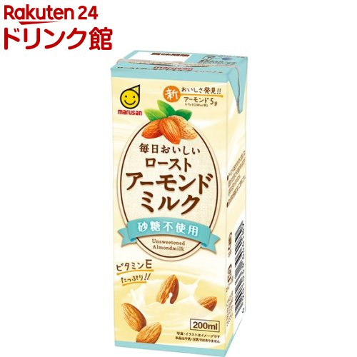 マルサン 毎日おいしいローストアーモンドミルク 砂糖不使用 秀逸 200ml 12本入 予約販売品