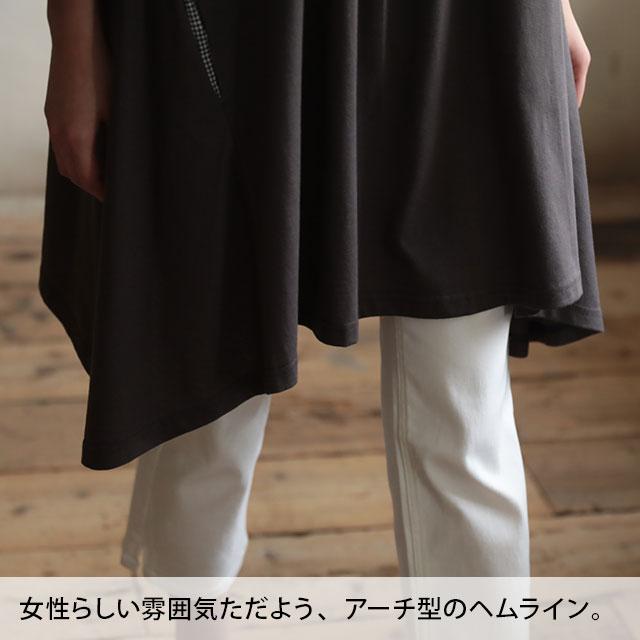 ちょっと、ひと味。爽やかなリボンを袖に結んだワンピースワンピース M/L/LLサイズ レディース/チュニック/フレア/Aライン/七分袖/7分袖/ギンガムチェックsoulberryオリジナル