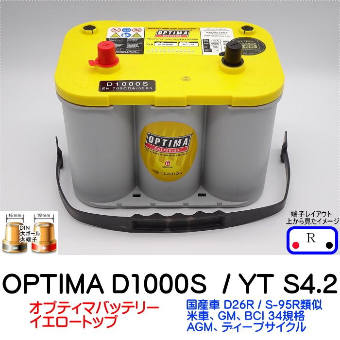 オプティマバッテリー OPTIMA は送料無料 ※例外有り 満充電発送 3年保証付き ハイパワーなイエロートップは始動性耐久性を合わせ持った本物のディープサイクル NEW イエロートップ D1000S YT 通信販売 S-4.2 バッテリー 端子DIN D34 Rタイプ ドライバッテリー 日本産 カーバッテリー 互換 オプティマ 車 D26R 8012-254