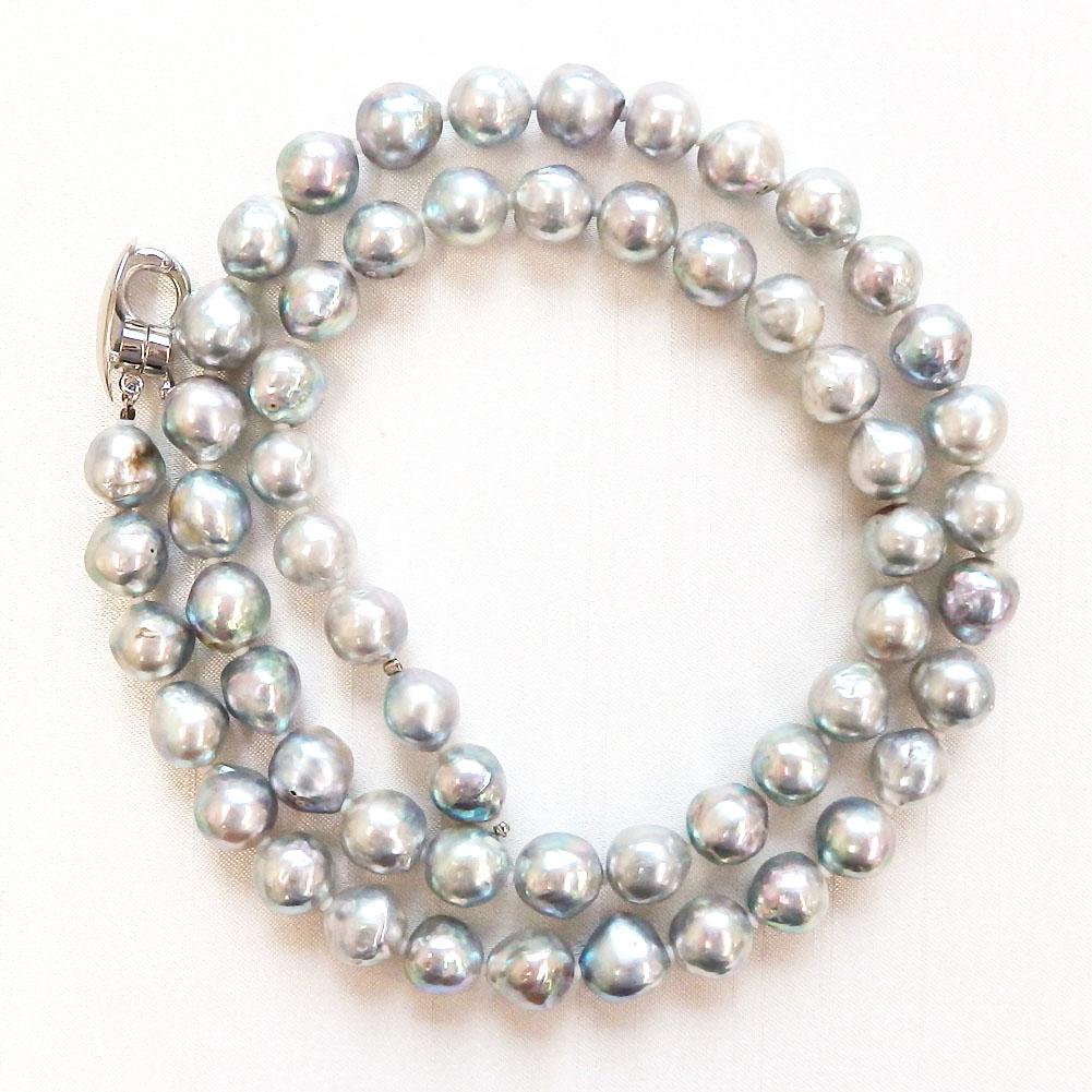【ランキング2位獲得】アコヤ真珠ネックレス ナチュラルグレーカラー マグネットクラスプ 9.0-9.5mm