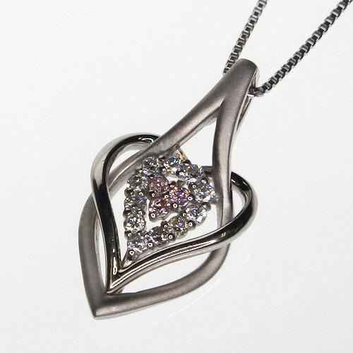 Pt900 ファンシーピンクダイヤモンド デザインネックレス[ファンシーピンクダイヤモンド0.02ct ダイヤモンド0.09ct]