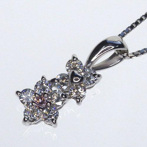 Pt900 ライトピンクダイヤモンド デザインネックレス[ライトピンクダイヤモンド0.02ct ダイヤモンド0.38ct]