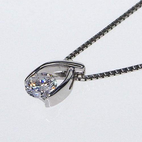 Pt900 一粒ダイヤモンドネックレス 0.12ct