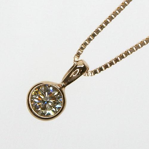 K18PG 一粒ダイヤモンド ネックレス[ベリーライトイエロー/SI-2/GOOD/0.212ct]