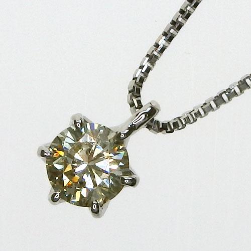 Pt900 一粒ダイヤモンド ネックレス[ライトイエロー/SI-1/GOOD/0.21ct]