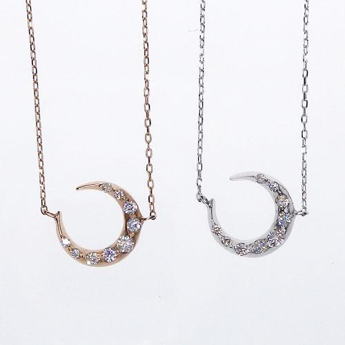 K18 ダイヤモンド 月 ネックレス