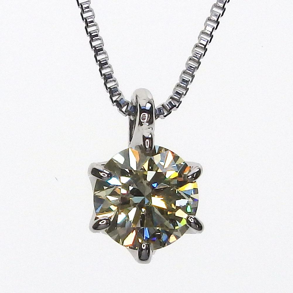 Pt900 一粒ダイヤモンド ネックレス[ベリーライトイエロー/SI-1/EX/0.321ct]