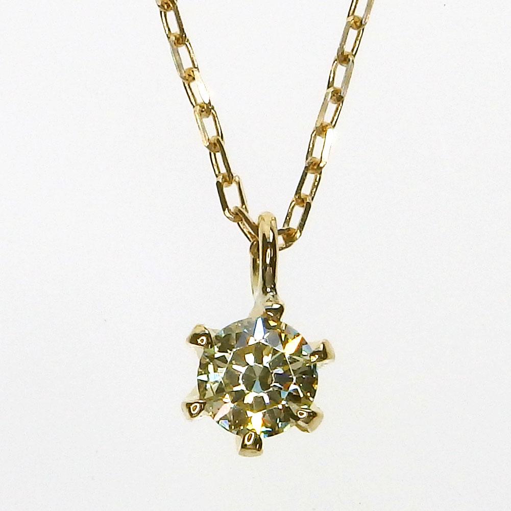 K18 一粒ダイヤモンド ネックレス[ライトイエロー/SI-2/VERY GOOD/0.173ct/H&C]