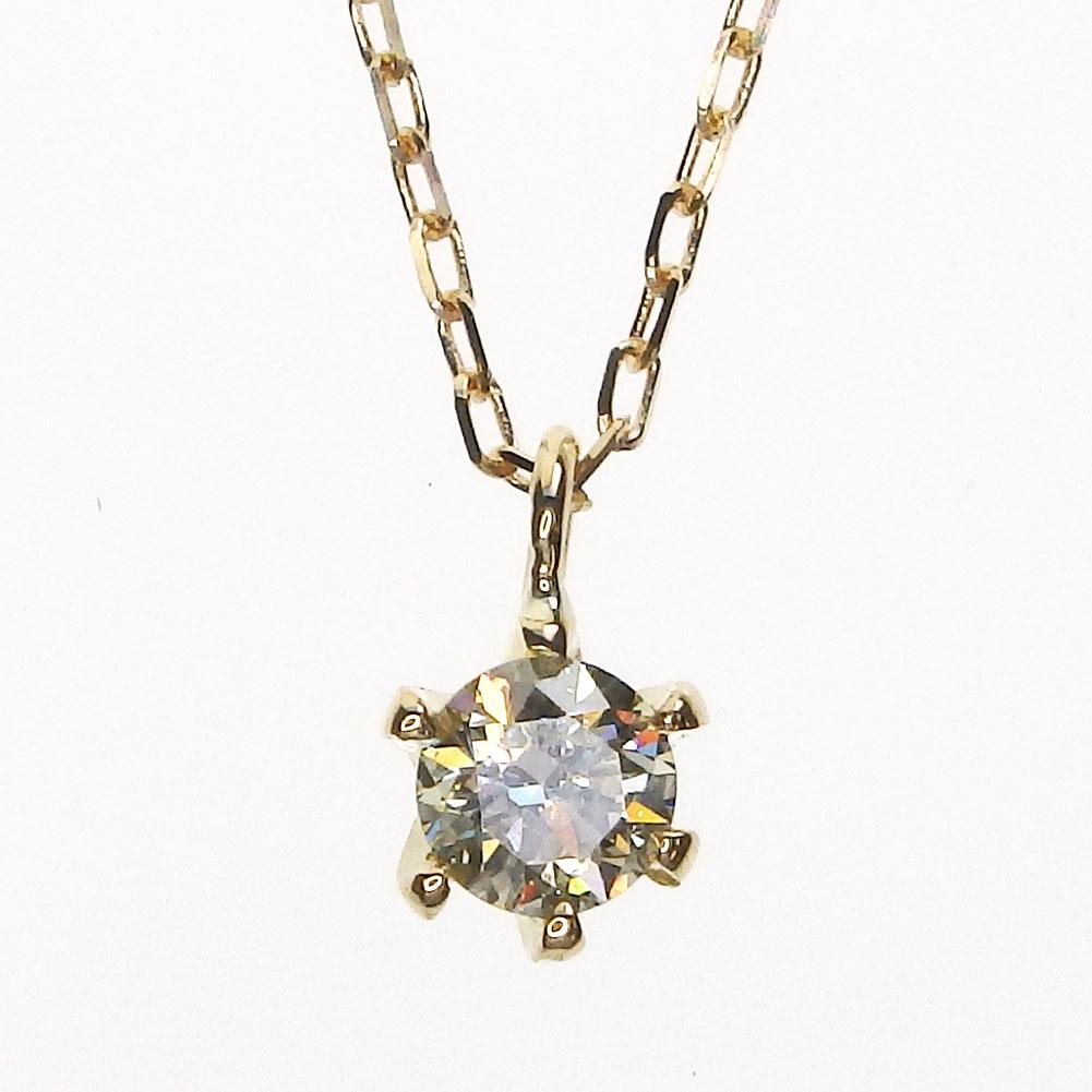 K18 一粒ダイヤモンド ネックレス[ライトイエロー/SI-2/GOOD/0.173ct/H&C]