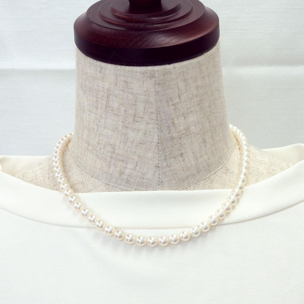 【ランキング9位獲得】ハイクオリティクラス オーロラ花珠真珠ネックレス 6.5-7mm 【金属アレルギー対策可能】