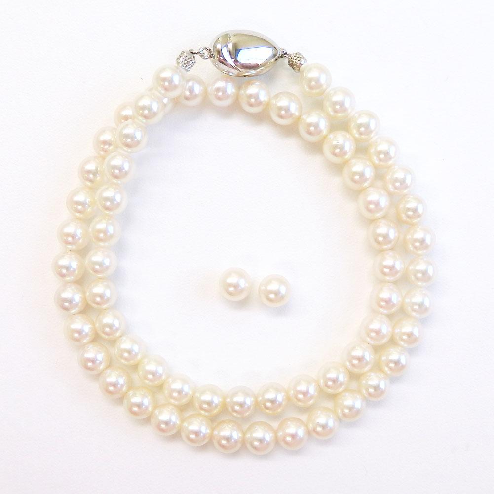 ハイクオリティオーロラ花珠真珠2点セット6.5-7.0mm 【金属アレルギー対策可能】