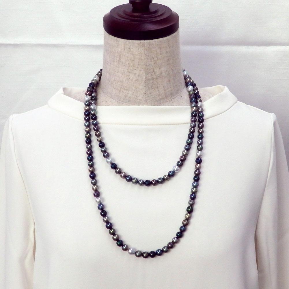 アコヤ真珠(あこや真珠)マルチロングネックレス120cm 7.5-8.5mm 【金属アレルギー対策可能】