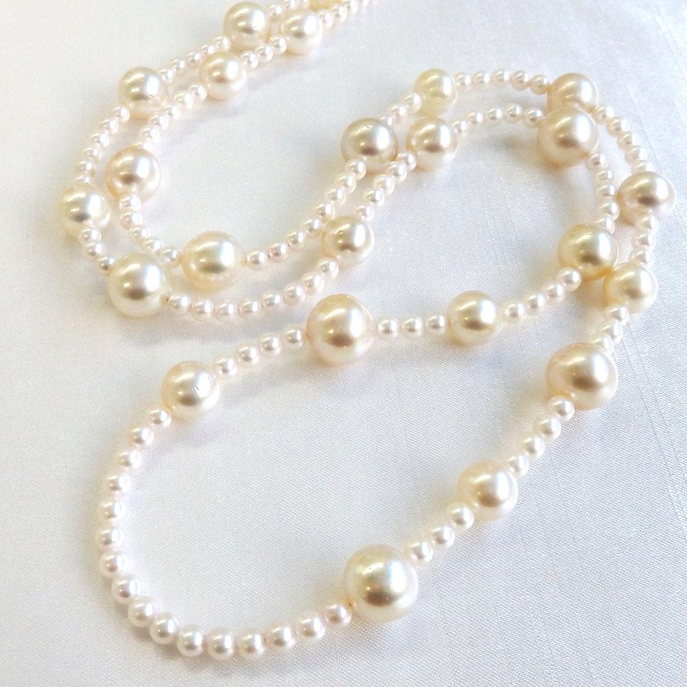 南洋真珠(白蝶真珠)アコヤ真珠(あこや真珠)マルチネックレス84cm 4.0-11.9mm 【金属アレルギー対策可能】