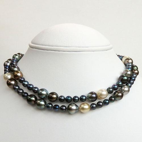 南洋真珠(黒蝶・白蝶真珠)アコヤ真珠マルチロングネックレス 6.0-10.8mm 90cm 【金属アレルギー対策可能】