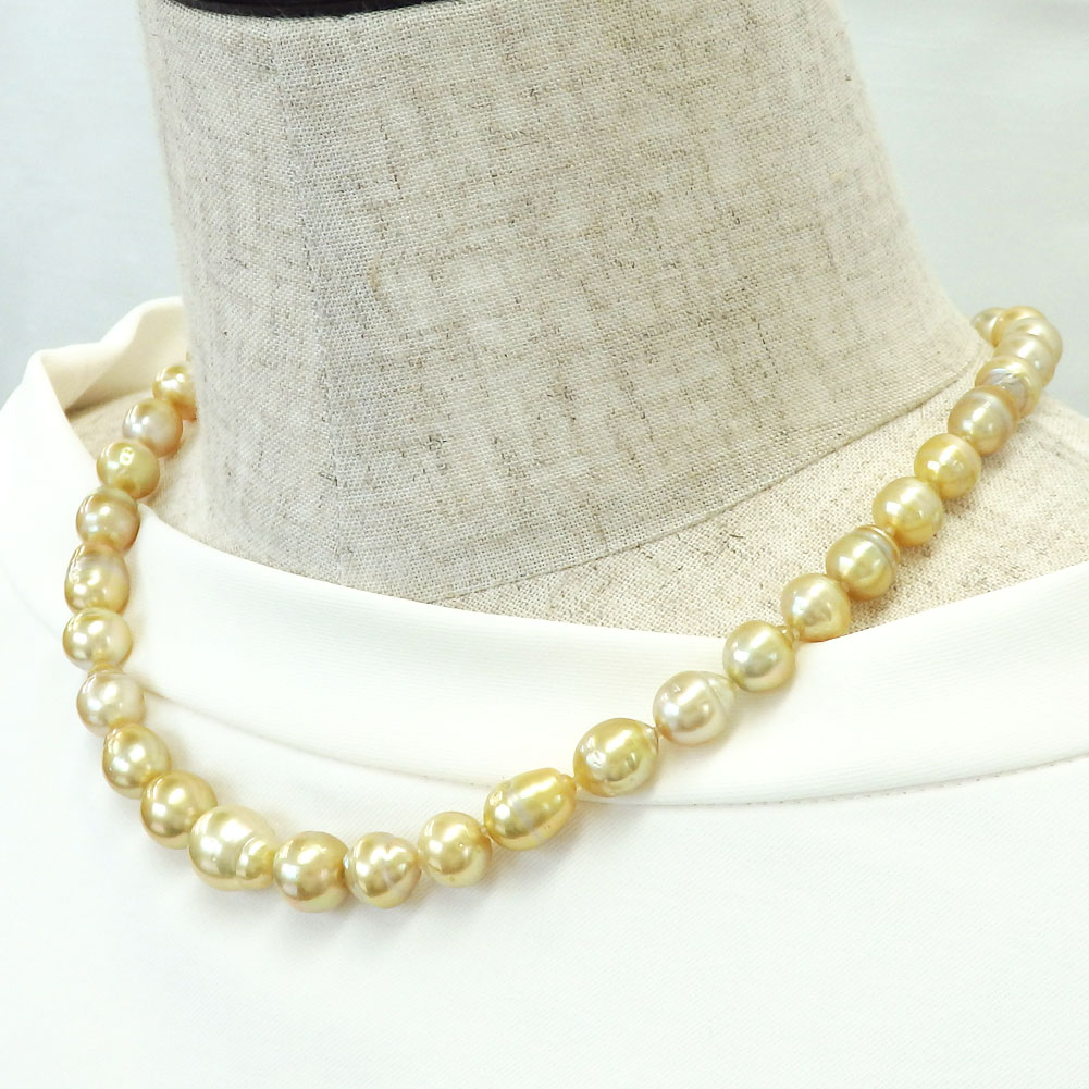 ゴールデン南洋真珠 大粒サークル45cm真珠ネックレス 8-11.5mm 【金属アレルギー対策可能】