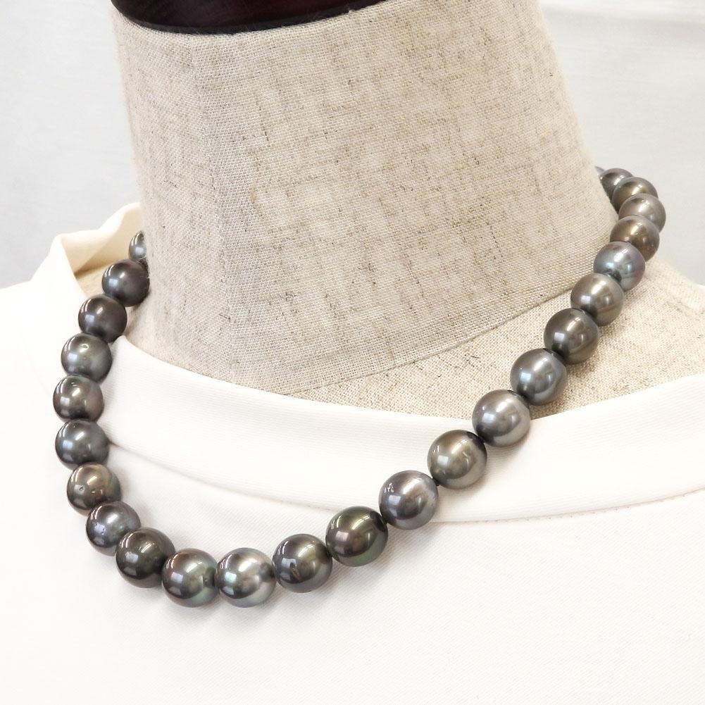 大粒南洋真珠(黒蝶真珠)ネックレス 11.0-13.5mm 【金属アレルギー対策可能】