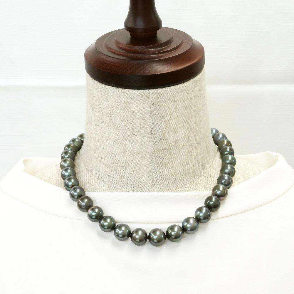 大粒南洋真珠(黒蝶真珠)ピーコックカラーネックレス 11.1-13.6mm 【金属アレルギー対策可能】