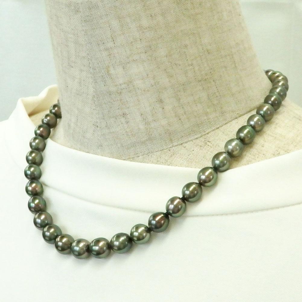 南洋真珠(黒蝶真珠)ピーコックカラーネックレス 8.0-10.2mm 【金属アレルギー対策可能】