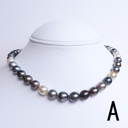 南洋真珠(白蝶真珠・黒蝶真珠)ネックレス マルチカラー 【金属アレルギー対策可能】