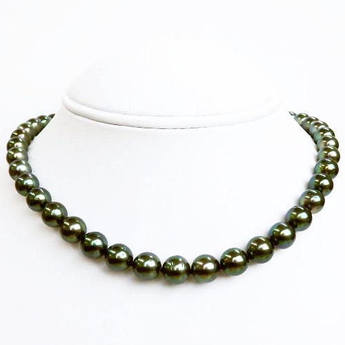 南洋真珠(黒蝶真珠)ピーコックネックレス 8.0-10.7mm 【金属アレルギー対策可能】