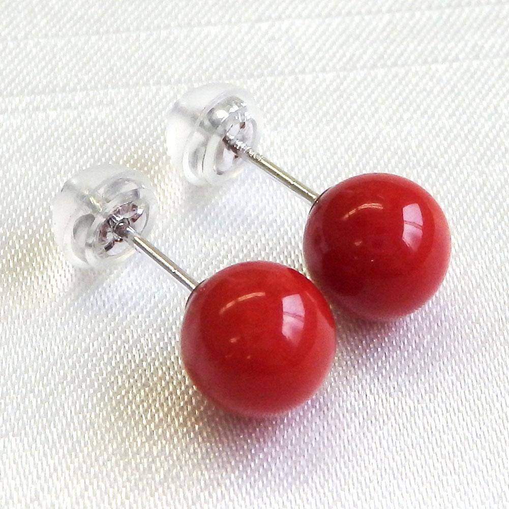 K14WG 赤さんごピアス 7mmup