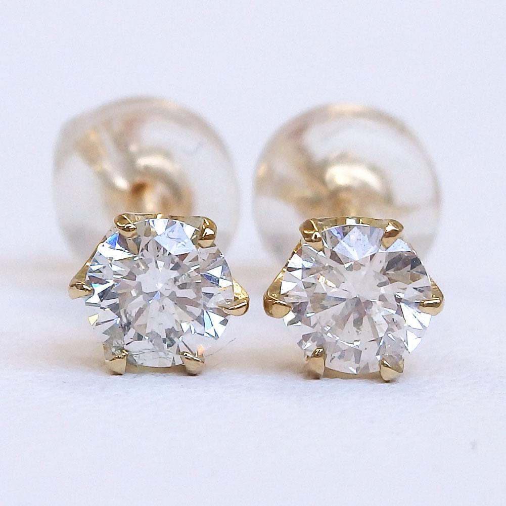 K18 一粒ダイヤモンドピアス 0.474ct