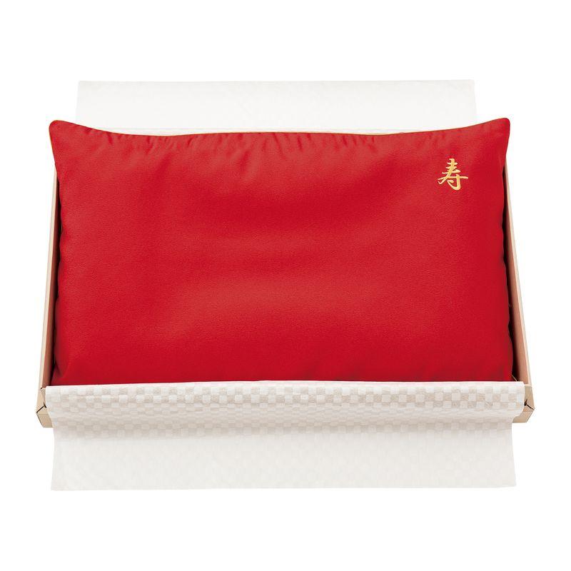 家具 インテリア 寝具 まくら 出荷までお時間をいただく場合がございます お祝い枕 レッド EH88102036 ピローケース付き 在庫一掃 美品