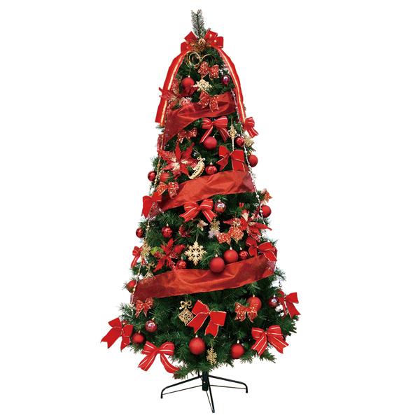 クリスマスツリー 240cm スリムツリーセットレッド