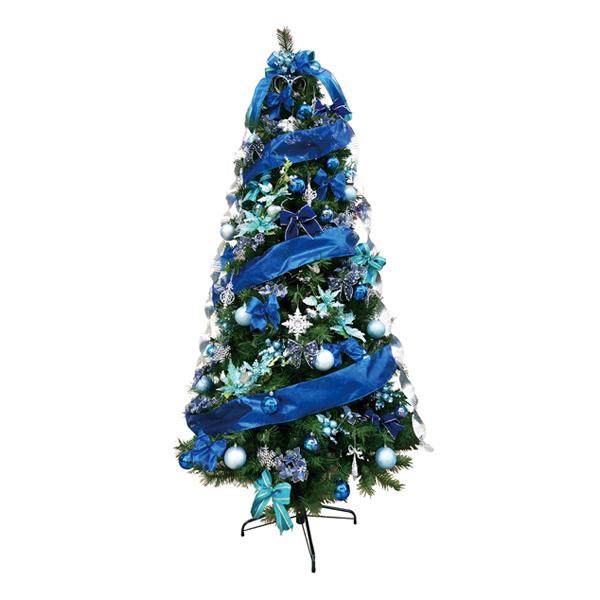 クリスマスツリー 240cm スリムツリーセットブルー