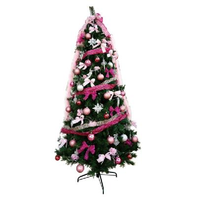 クリスマスツリー 240cm スリムツリーセットピンク