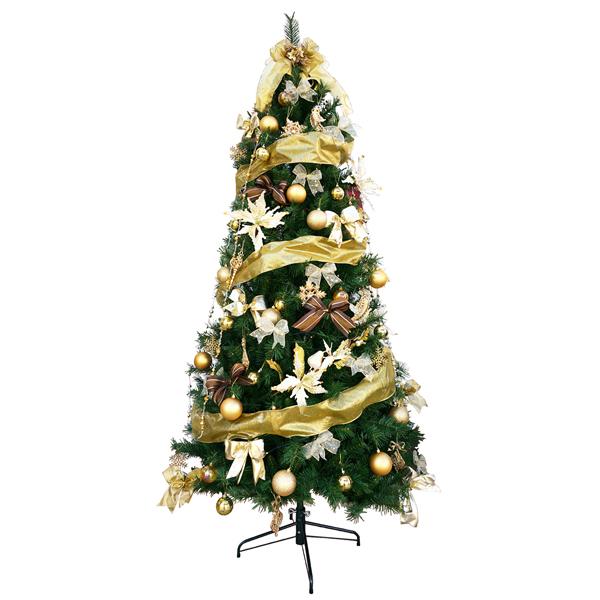 クリスマスツリー 240cm スリムツリーセットゴールド