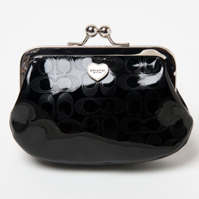 Coach Accessories Purses And Coin Purse Embossed Patent Leather Signature Framed F62407svbk Black Small Case