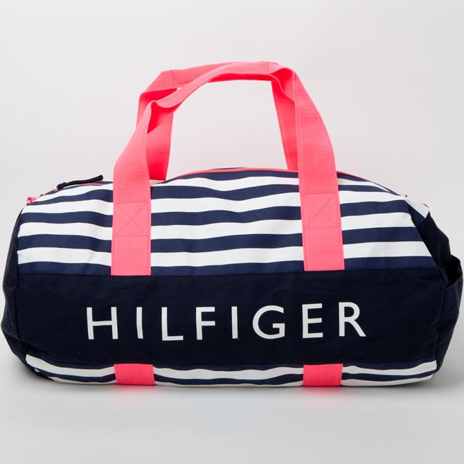 148d827d85 southcoast: Canvas big drum bag duffel bag pink x Navy border Tommy ...