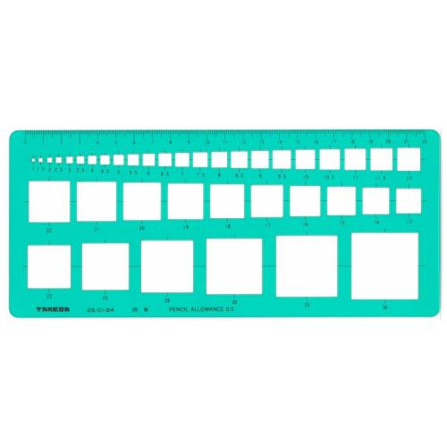 製図 製図用品 製図用定規 建築 図面 製図テンプレート 定規 使いやすい 見やすい たけだ TAKEDA タケダ インクエッジ 板寸法114×233×1.0mm テンプレート インクエッジ付き 2020 デザイン 29-0184 領収書対応可能 takeda ご注文で当日配送 辺1~36mm 四角定規
