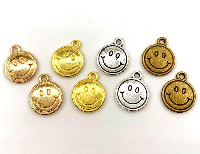 金属チャーム 笑顔 人気ブランド D 20個入り 人気ブランド多数対象 直径13mm スマイル ニコパーツ 厚2mm 両面
