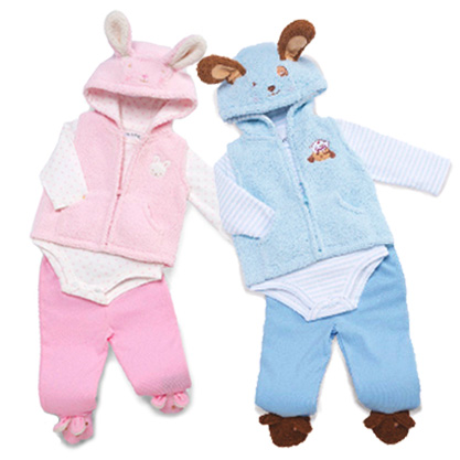Bunnies By The Bay バニーズバイザベイもこもこ3点セット☆0-3Mうさぎ(ピンク)・いぬ(ブルー)(新生児 出産祝い ベビー服 creeper フリース レギンス)