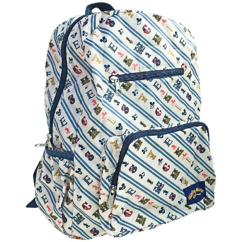 後ろ側に付いているポケットが バッグ収納袋になり折畳んでポケットに入っちゃいますKiitos発売元スモール アイテム勢ぞろい プラネット Disney ディズニー ストアー アイボリー ストライプ トラベルポケットリュック APDS2862