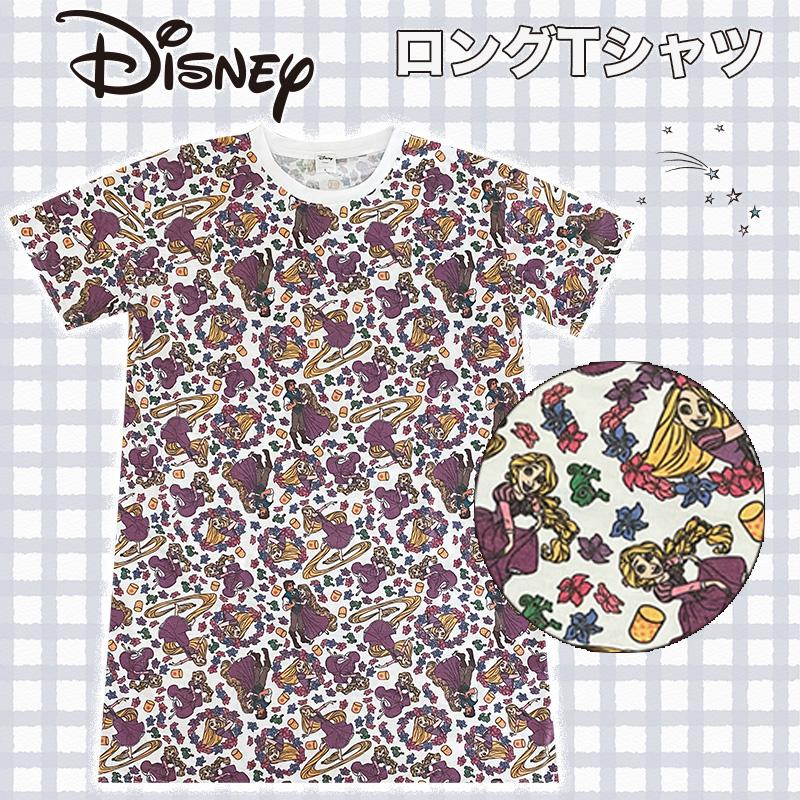 ディズニープリンセスの総柄ロングTシャツ SALE 30%OFF Disney 出色 ディズニー AWDS7193 ラプンツェル ロング パターン Tシャツ 春の新作続々